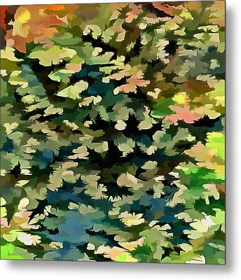 Foliage Abstract In Green, Peach And Phthalo Blue Metal Print