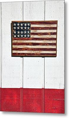 Folk Art American Flag On Wooden Wall Metal Print by Garry Gay