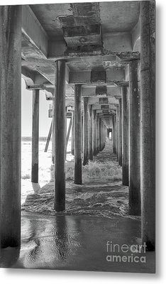 Metal Print featuring the photograph Follow The Lines Under Huntington Beach Pier by Ana V Ramirez