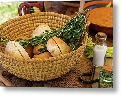 Food - Bread - Rolls And Rosemary Metal Print by Mike Savad