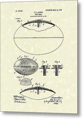 Football 1903 Jacobs Patent Art Metal Print