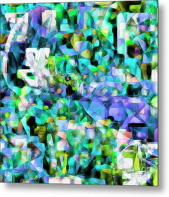 Football Odell Beckham One Hand Catch In Abstract Cubism 20170406 Square Metal Print by Wingsdomain Art and Photography