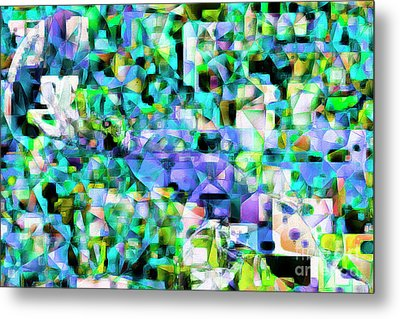 Football Odell Beckham One Hand Catch In Abstract Cubism 20170406 Metal Print by Wingsdomain Art and Photography