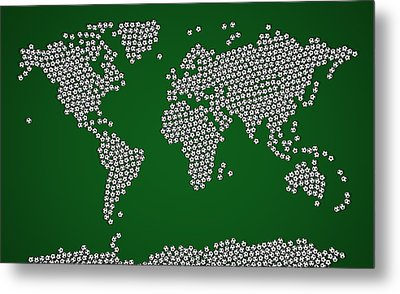 Football Soccer Balls World Map Metal Print by Michael Tompsett