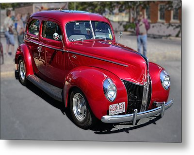 Ford 40 In Red Metal Print by Larry Bishop