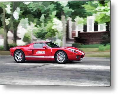 Metal Print featuring the photograph Ford Gt Entering Lake Mills by Joel Witmeyer