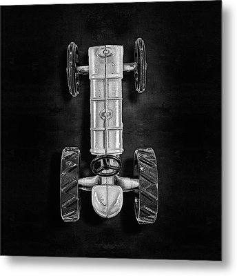 Metal Print featuring the photograph Fordson Tractor Top Bw by YoPedro