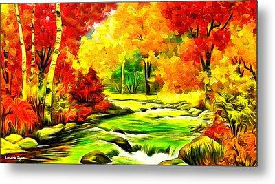 Forest And River - Da Metal Print by Leonardo Digenio