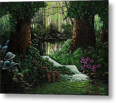 Metal Print featuring the painting Forest Brook by Michael Frank