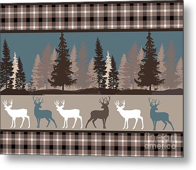 Forest Deer Lodge Plaid II Metal Print by Mindy Sommers