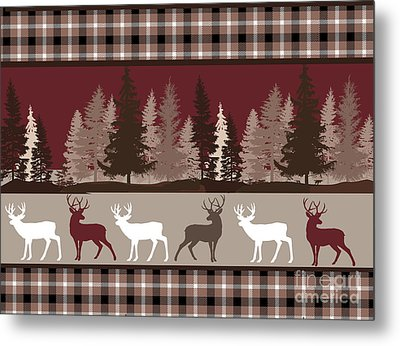 Forest Deer Lodge Plaid Metal Print