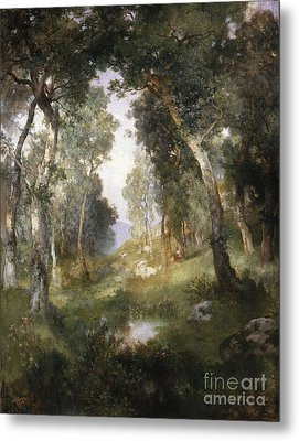 Forest Glade Metal Print by Thomas Moran