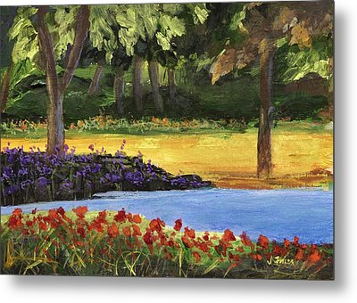 Metal Print featuring the painting Forest Lake by Jamie Frier