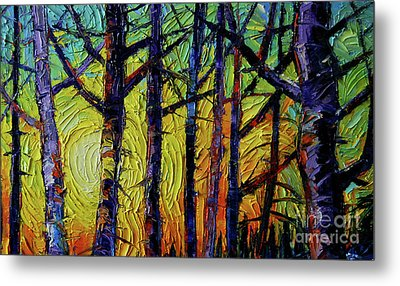 Forest Layers 1 - Modern Impressionist Palette Knives Oil Painting Metal Print by Mona Edulesco