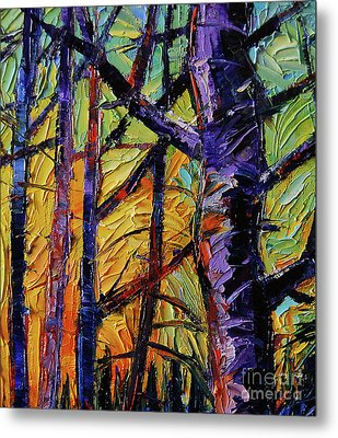 Forest Layers 2 - Modern Impressionist Palette Knives Oil Painting Metal Print by Mona Edulesco