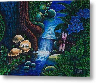 Metal Print featuring the painting Forest Never Sleeps Chapter- Midnight Rendezvous by Michael Frank