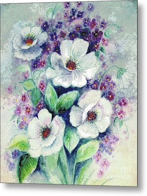 Forget-me-knots And Roses Metal Print by Hazel Holland