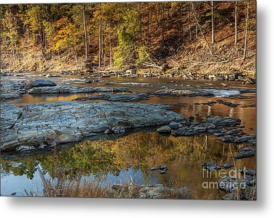 Metal Print featuring the photograph Fork River Reflection In Fall by Iris Greenwell
