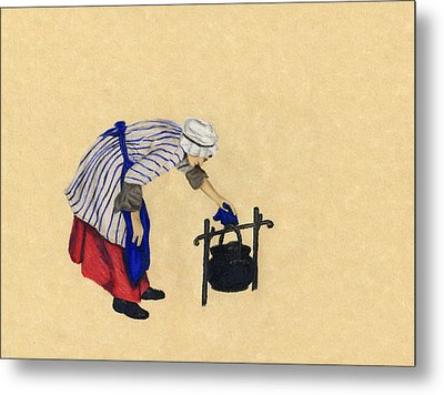 Fort Toulouse Cooking Woman Metal Print by Beth Parrish