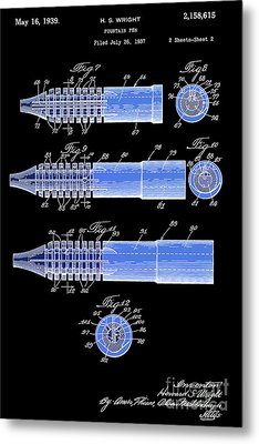 Fountain Pen Patent, Old Art, Year 1939, Black And Blue Metal Print by Pablo Franchi
