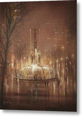Fountain Square Metal Print by Tom Shropshire