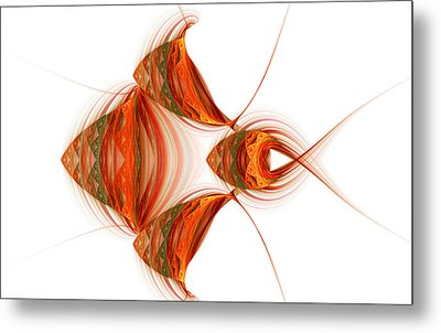 Metal Print featuring the digital art Four Fractal Fishies by Richard Ortolano