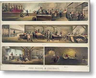 Four Scenes In A Pork Packing House Metal Print by Everett