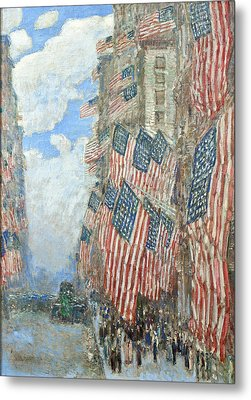 Metal Print featuring the painting Fourth Of July, 1916 by Frederick Childe Hassam
