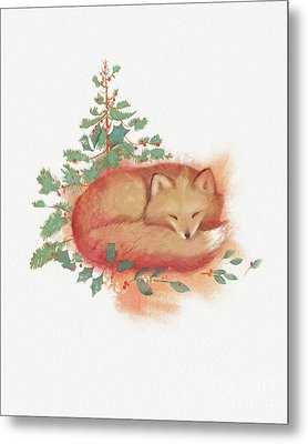 Fox And Holly Metal Print