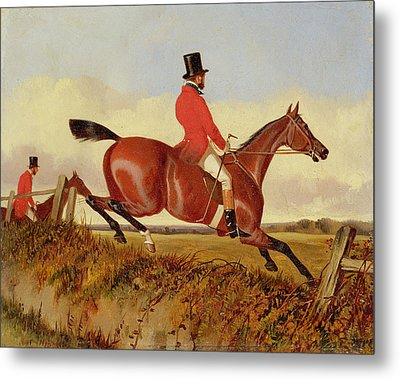 Foxhunting - Clearing A Bank Metal Print by John Dalby