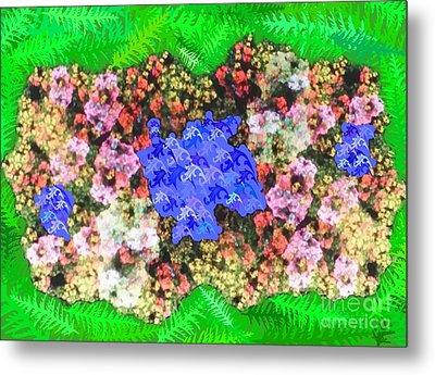 Fractal Flower Garden Metal Print by Diamante Lavendar
