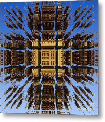 Metal Print featuring the digital art Fractal Fragments Of A Golden Box by Richard Ortolano