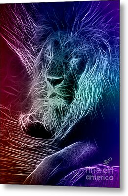 Fractalius Lion Metal Print by Zedi
