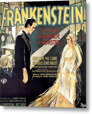 Frankenstein, Boris Karloff, Mae Clarke Metal Print by Everett