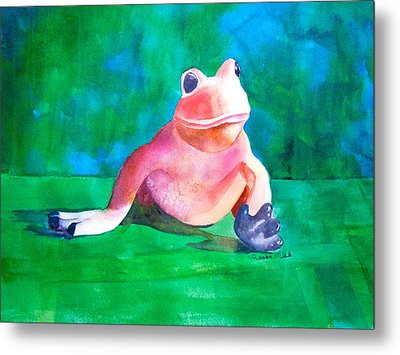 Metal Print featuring the painting Freddy The Frog by Sharon Mick