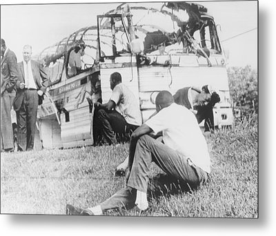 Freedom Riders Bus Was Destroyed Metal Print by Everett