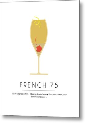 French 75 Classic Cocktail - Minimalist Print Metal Print