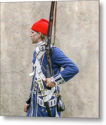 French Colonial Soldier French And Indian War  Metal Print by Randy Steele