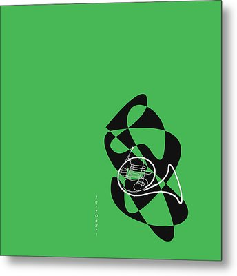 French Horn In Green Metal Print by David Bridburg