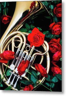 French Horn With Red Roses Metal Print