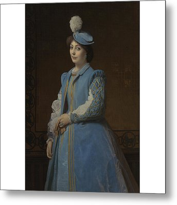 French Portrait Of A Lady In Blue Metal Print