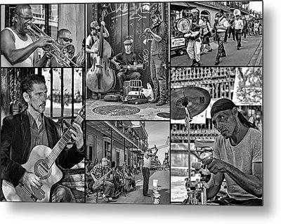 French Quarter Musicians Collage Bw Metal Print