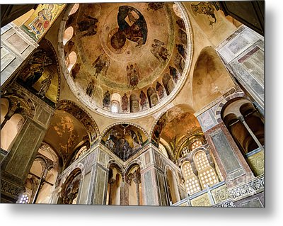 Frescoes And Mosaics Of The Church Of Holy Luke At Monastery Of Hosios Loukas In Greece Metal Print by Global Light Photography - Nicole Leffer