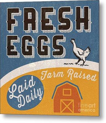 Fresh Eggs Laid Daily Retro Farm Sign Metal Print