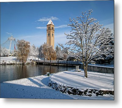 Fresh Snow In Riverfront Park - Spokane Washington Metal Print by Daniel Hagerman