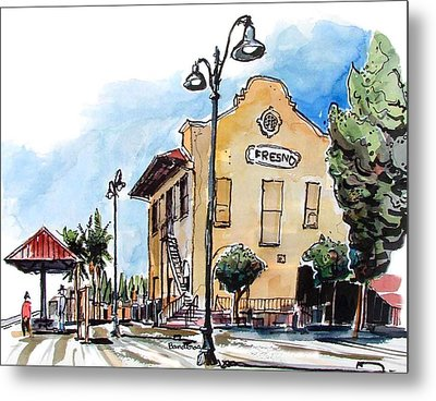 Metal Print featuring the painting Old Fresno Depot by Terry Banderas