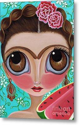 Frida And The Watermelon Metal Print by Jaz Higgins