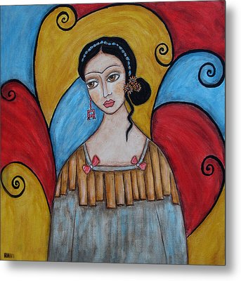 Frida Kahlo Metal Print by Rain Ririn