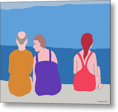 Friends On Beach Metal Print by Fred Jinkins