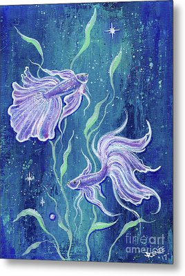 Frilly Betta Fish Metal Print by Renee Lavoie